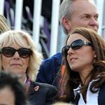 Catherine and Prince William watch the Eventing Cross Country Equestrian event on Day 3 of the London 2012 Olympic Games with Prince Harry, Princess Beatrice, Princess Eugenie and Camilla 121972