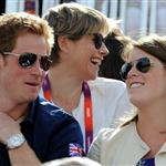 Catherine and Prince William watch the Eventing Cross Country Equestrian event on Day 3 of the London 2012 Olympic Games with Prince Harry, Princess Beatrice, Princess Eugenie and Camilla 121975