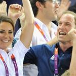 Catherine, Duchess of Cambridge, Prince William and Prince Harry during Day 6 of the London 2012 Olympic Games at Velodrome 122314