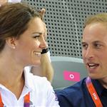 Catherine, Duchess of Cambridge, Prince William and Prince Harry during Day 6 of the London 2012 Olympic Games at Velodrome 122319