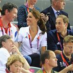 Catherine, Duchess of Cambridge, Prince William and Prince Harry during Day 6 of the London 2012 Olympic Games at Velodrome 122326