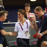 Catherine, Duchess of Cambridge, Prince William and Prince Harry during Day 6 of the London 2012 Olympic Games at Velodrome 122328
