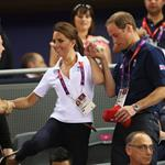 Catherine, Duchess of Cambridge, Prince William and Prince Harry during Day 6 of the London 2012 Olympic Games at Velodrome 122330