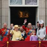 Prince Charles, Prince of Wales, Queen Elizabeth II, Prince Philip, Duke of Edinburgh, Catherine, Duchess of Cambridge and Prince William watch a fly-past from the balcony of Buckingham Palace following the Queen's Birthday Parade, 'Trooping the Colour' at Horse Guards Parade 117811