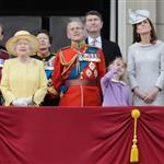 Prince Charles, Prince of Wales, Queen Elizabeth II, Prince Philip, Duke of Edinburgh, Catherine, Duchess of Cambridge and Prince William watch a fly-past from the balcony of Buckingham Palace following the Queen's Birthday Parade, 'Trooping the Colour' at Horse Guards Parade 117812