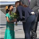 Prince William and Catherine presented flowers as they board their plane in Yellowknife  89344