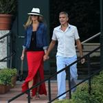 George Clooney and Stacy Keibler take the boat with some friends to tour Como Lake at sunset 1195