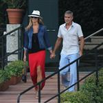 George Clooney and Stacy Keibler take the boat with some friends to tour Como Lake at sunset 1197