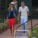 George Clooney and Stacy Keibler take the boat with some friends to tour Como Lake at sunset 1199