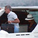 George Clooney and Stacy Keibler take the boat with some friends to tour Como Lake at sunset 1208