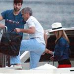 George Clooney and Stacy Keibler take the boat with some friends to tour Como Lake at sunset 1211