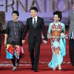Ann Hui , Andy Lau, and Deanie Ip arrive for the red carpet of 2nd Beijing International Film Festival at China National Convention Center 103607