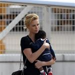 Charlize Theron with son Jackson at Paris airport 104189