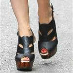 Kristen Wiig's Proenza Schouler Leather Slingback Wedge Sandals 107161